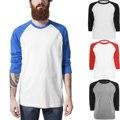 2016 Mens Nueva Tops de Béisbol Tendencia de La Moda Hip Hop Monopatín Casual de las Camisetas de 3/4 de Manga larga Camiseta