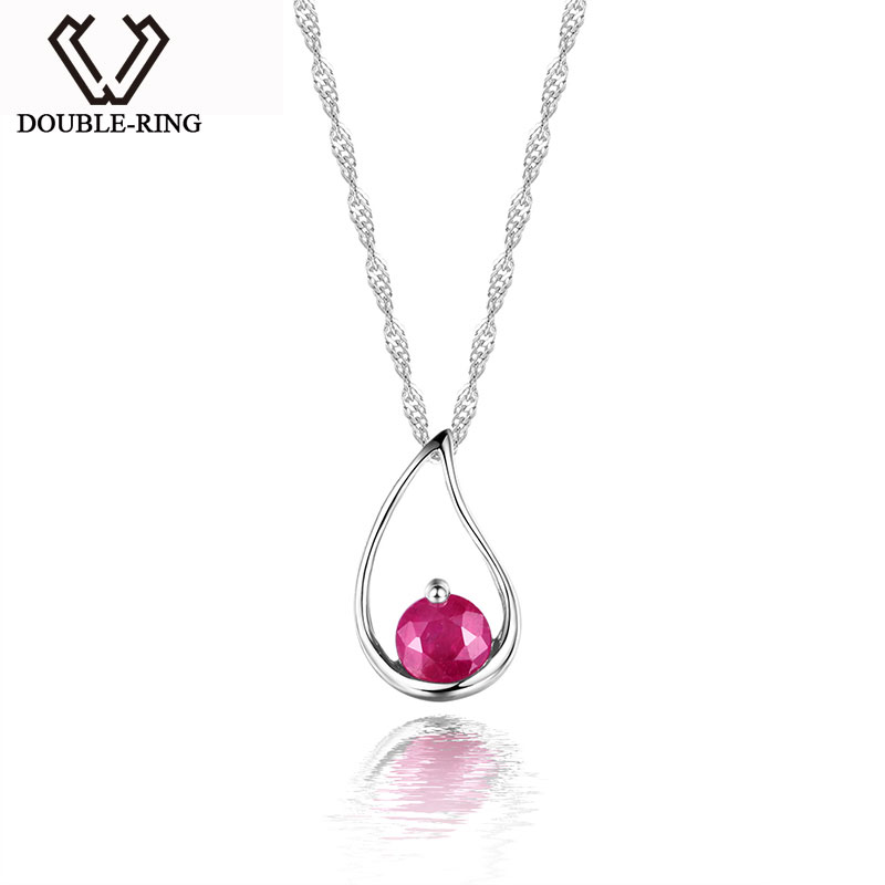DOUBLE-R New Charms Pendants Genuine Gemstone Ruby Pendant Water Drop Sterling Silver Jewelry Women Fine Jewelry CAP01644DDOUBLE-R New Charms Pendants Genuine Gemstone Ruby Pendant Water Drop Sterling Silver Jewelry Women Fine Jewelry CAP01644D