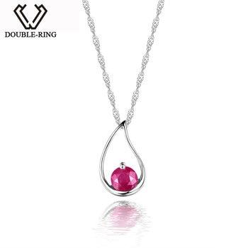 DOUBLE-R New Charms Pendants Genuine Gemstone Ruby Pendant Water Drop Sterling Silver Jewelry Women Fine Jewelry CAP01644D