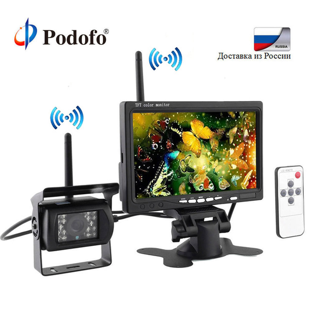 Podofo Wireless 7 HD TFT LCD Vehicle Backup Rear View Camera Monitor+Ir Night Vision Rearview Backup Camera System for RV Truck podofo wireless truck vehicle car rear view backup camera 7 hd monitor ir night vision parking assistance waterproof for rv rc