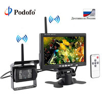 Podofo Wireless 7 HD TFT LCD Vehicle Backup Rear View Camera Monitor+Ir Night Vision Rearview Backup Camera System for RV Truck