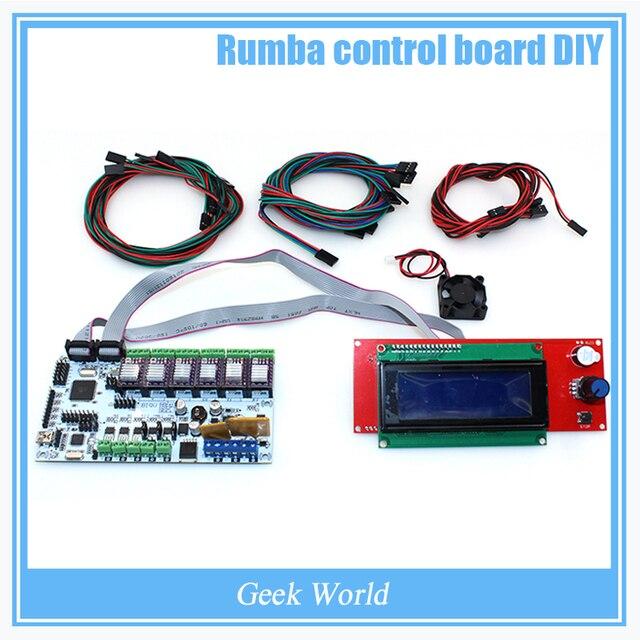 BIQU Rumba DIY junta de control + ventilador del refrigerador + pantalla LCD 2004 controlador + cable de puente + DRV8825 Stepper conductor para la impresora reprap 3D