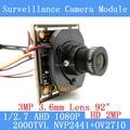 2MP 1920 * 1080 AHD CCTV 1080P mini Camera Module 1 / 2.7 2000TVL 3.6mm wide-angle 92 degree surveillance camera ODS/ BNC Cable
