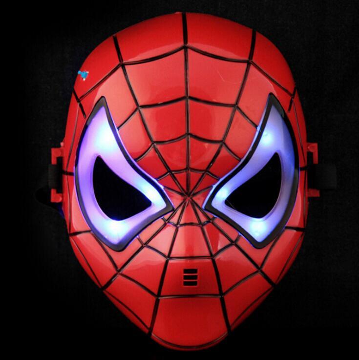 LED Head Mask Super hero Hulk/American captain/Iron Man/Spiderman/Batman Crazy Rubber Party Halloween Costume Mask Children toy