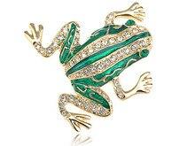 Joyería de moda Auténtico Cristal Checo Rhinestone Golden Frog Pin de la Broche