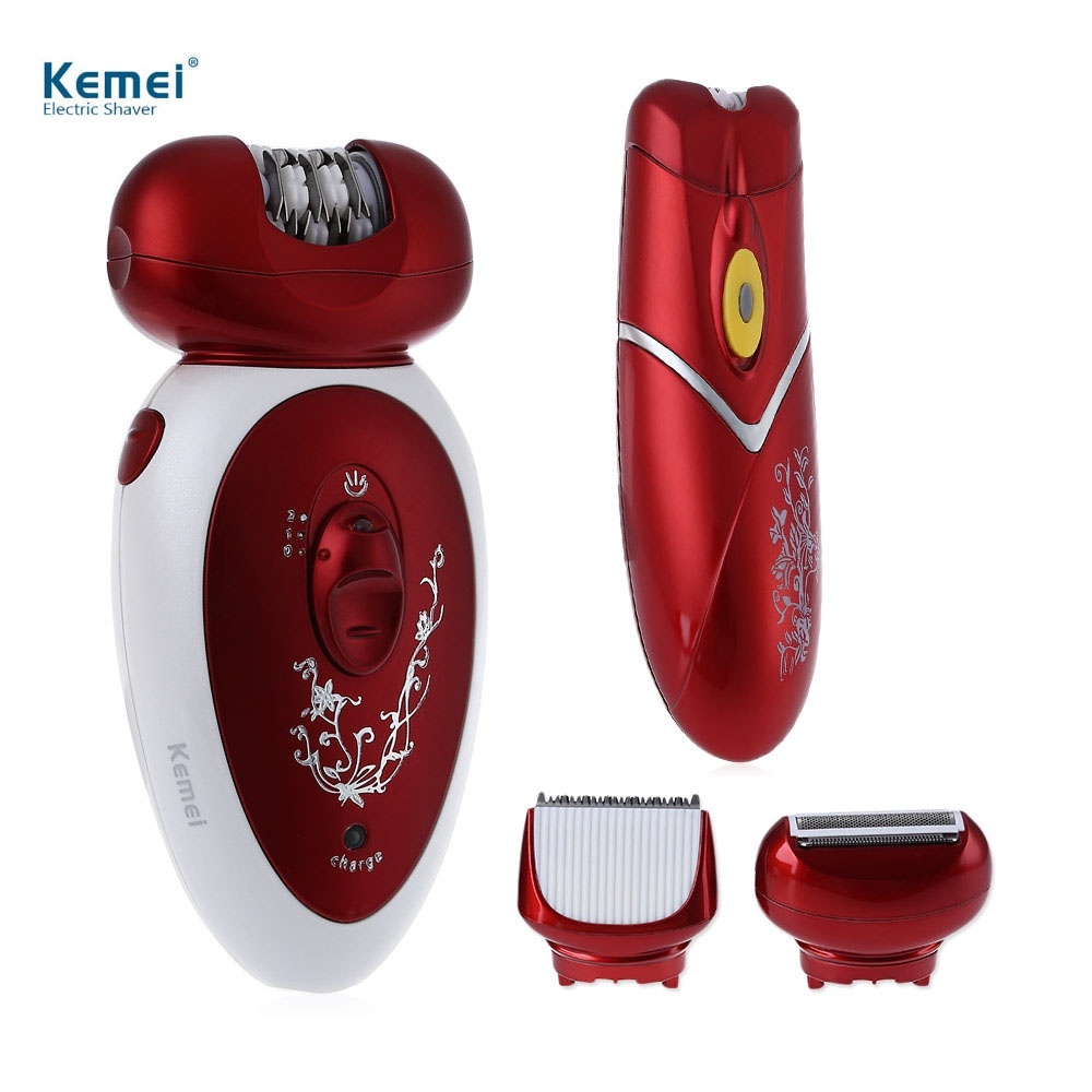 Kemei KM - 3048 4 in 1 Rechargeable Electric Lady Legs Face Underarm Epilator Hair Remover Clipper Shaver Defeatherer for Women free customs taxes factory diy super power rechargeable 36 volt power supply 36v 20ah li ion battery pack