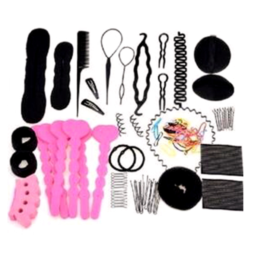 20pcs Pro Hair Bun Clip Maker Pads Hairpins Roller Braid Twist Sponge Styling Accessories Tools Kit Set