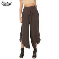 Eliacher Women Summer Green Lady Capris Ankle-Length Pleated Wide leg Pants Fashion Casual Chiffon Loose Pants 8502