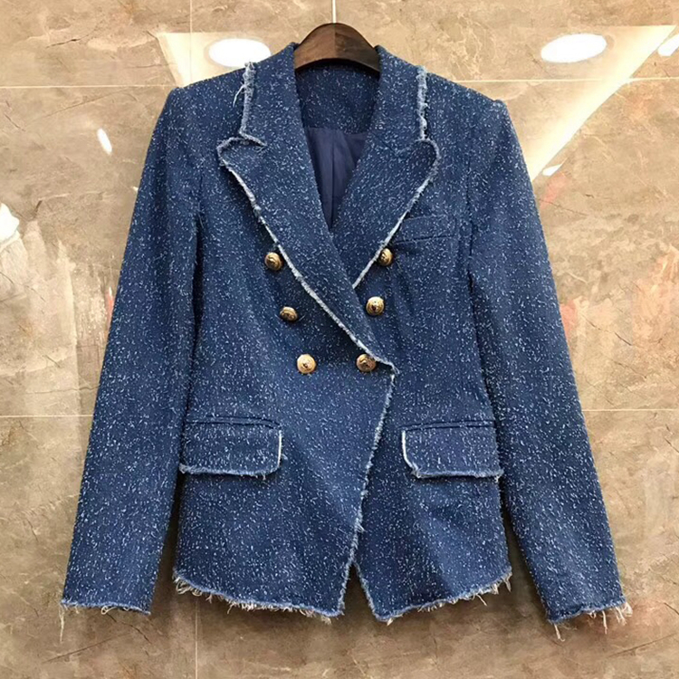 New jacket chic double breasted ~ flash Europe 2018 spring coat slim 2L