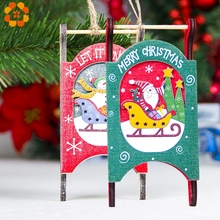 1PC Christmas Sled Wooden Pendants Ornaments DIY Wood Crafts Xmas Tree Ornament For Home Party Decorations