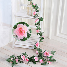 2.3M 11Heads Fake Silk Roses Ivy Vine Artificial Flowers with Green Leaves For Home Wedding Decoration Hanging Garland Decor P10(China)