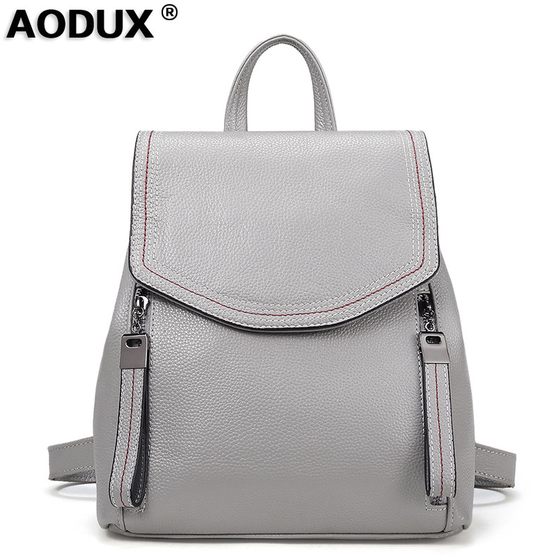 Aodux 100 Genuine Cow Leather Fashion Women Daily Backpack Real First Layer Leather Ladies Backpacks Travel