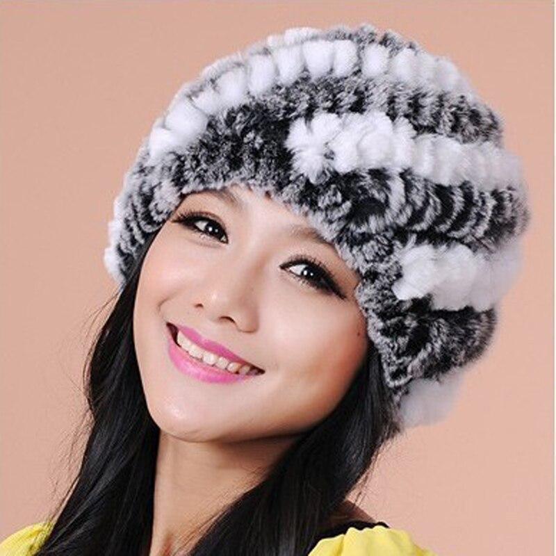 YH Winter Warm Women Knitted Rex Rabbit Fur Hat Cap Beanies
