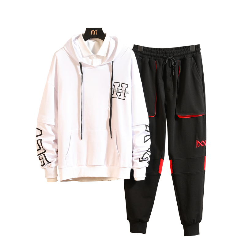 M-3XL 4XL 2019 Spring Summer Track Suits Men Set Fashion Men Track Suit With Pants Harem Jogging Sweat Men Joggers Suit Sets