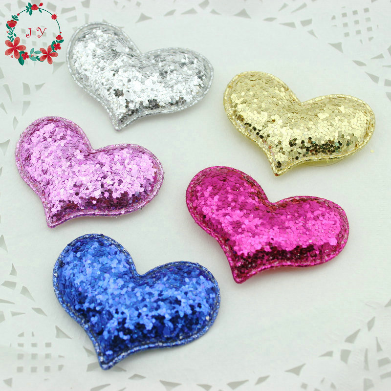 50pcs/lot Assorted Heart Felt Pentagram Glitter Patch W/ Padded Felt Soft Fabric Decorations DIY Craft Home Decor Free Shipping