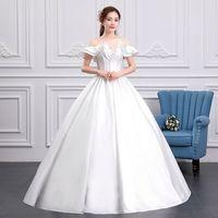 Ruffles Wedding Dress 2019 New Cheap Boat Neck Ball Gown Off The Shoulder Princess Wedding Dresses Plus Size Vestido De Noiva