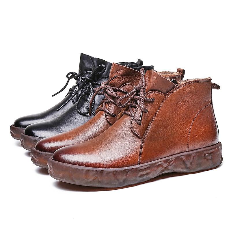 Vintage Y Literarias Negro Artísticas 6801 Cuero Nueva Mujer Corto Moda Zapatos Botas marrón Las Ocio Mujeres De SgUBS