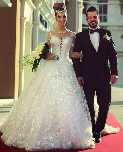 Hot Sale Sexy Sheer Jewel Neck Applique Ball Gown Custom Made Floor Length Long Sleeve Lace Bride Wedding Dresses 2017