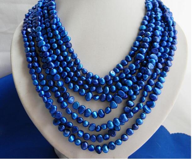 Beau collier de perles d'eau douce Baroque bleu 8 brins 6mm