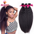 6A Peruvian Kinky Straight Human Hair Weave 3 Pcs unprocessed  Bundles Italian Yaki Kinky Straight Weave Natural Hair Extension