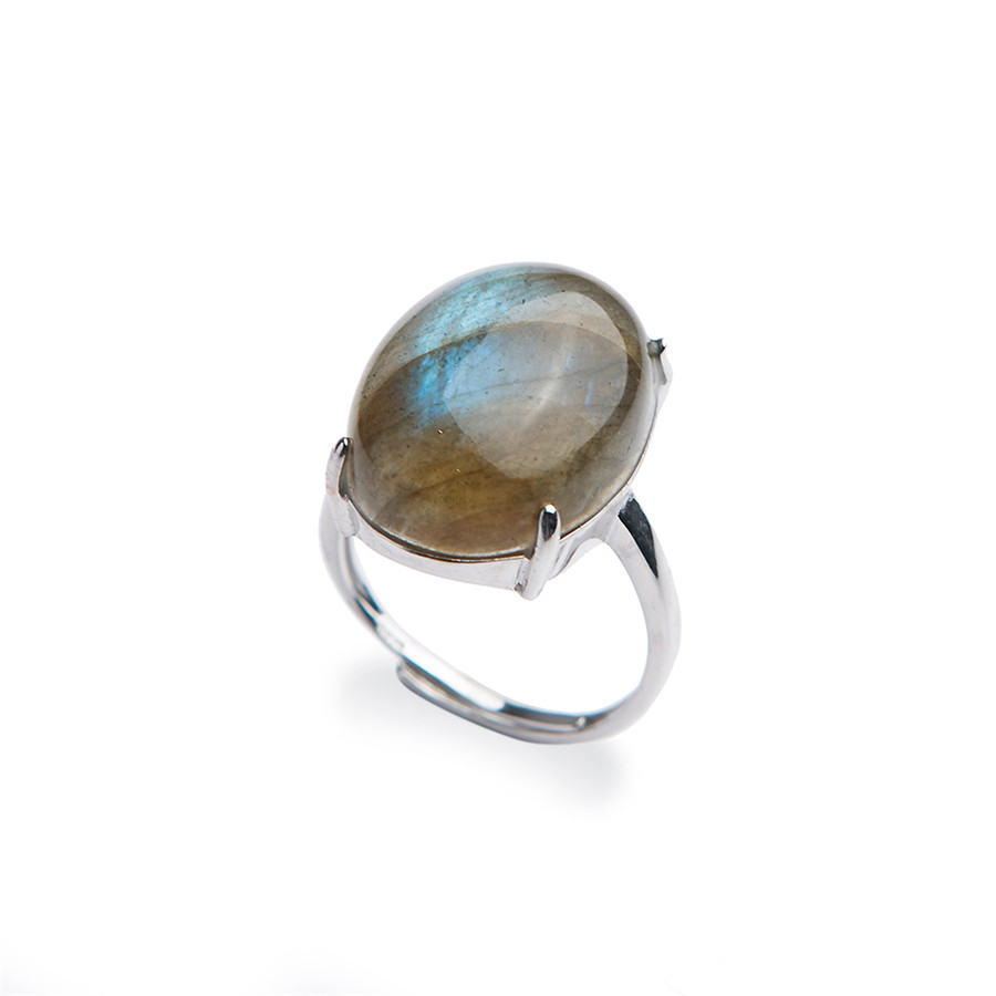 Genuine Natural Labradorite Moonstone Gemstone Rings For Women Men Adjustable Size Natural Stone Fashion Silver Ring