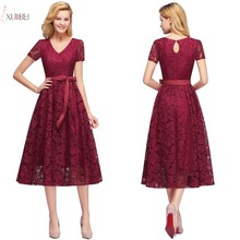 Burgundy Navy Pink Lace Short Bridesmaid Dresses 2019 V Neck A line Sleeveless Wedding Party Dress цены