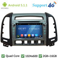 "Quad Core 7 ""HD 1024*600 Android 5.1.1 Car DVD Player PC Rádio FM DAB + 3G/4G WIFI GPS Mapa Para Hyundai SANTA FE 4 Buraco 2006-2011"