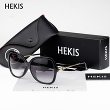 HEKIS Women Brand Designer Sunglasses Square Elegant Female Spectacles Big Frame Driving Sun Glasses D1707