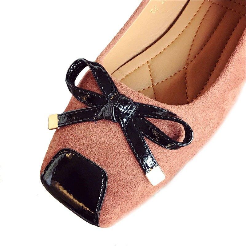 Bateau marron Doux Chaussures Talon Zh2631 Noir Bowknot Dames Nouvelle Plat Printemps 2018 Carré Simples Femmes Grande Bout Appartements 41 Taille Élégant SEvRxwOq