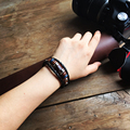 2016 New Fashion Jewelry Genuine Leather Charm Bracelets For Women Men Vintage Beaded Braided Bracelets Bangles Wholesale