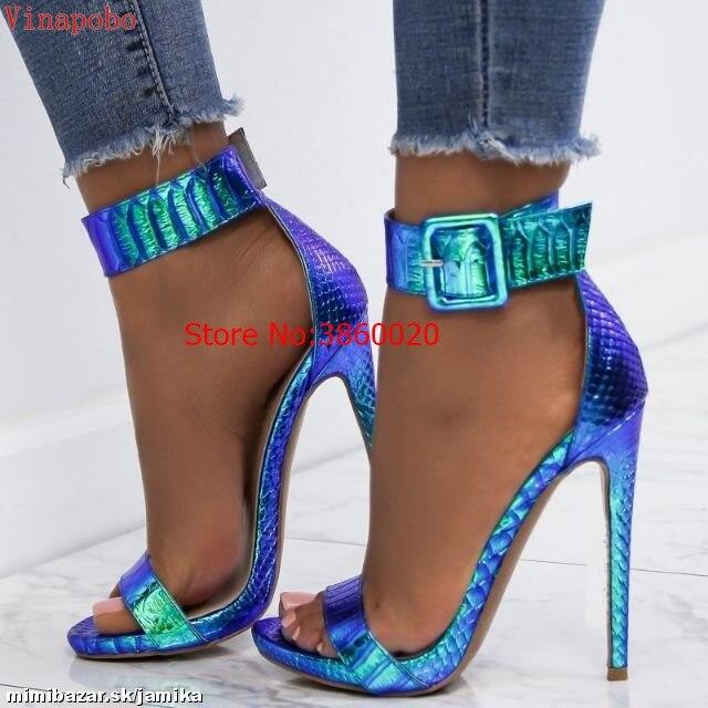 Vinapobo Zomer green snake gedrukt Sandalen Vrouwen Super Hoge Hakken Gesp Partij Bruiloft Mode Schoenen Sandalia Feminina-in Hoge Hakken van Schoenen op  Groep 2