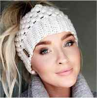 be5ec3c7b Ponytail Beanie Winter Hats For Women Crochet Knit Cap Skullies Beanies  Warm Caps Female Knitted Stylish Hat Ladies Fashion