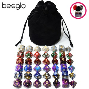 6 Sets Acrylic Polyhedral Dice Plus 1pcs Big Drawstring Bag for DND RPG Table Games D4 D6 D8 D10 D% D12 D20(China)