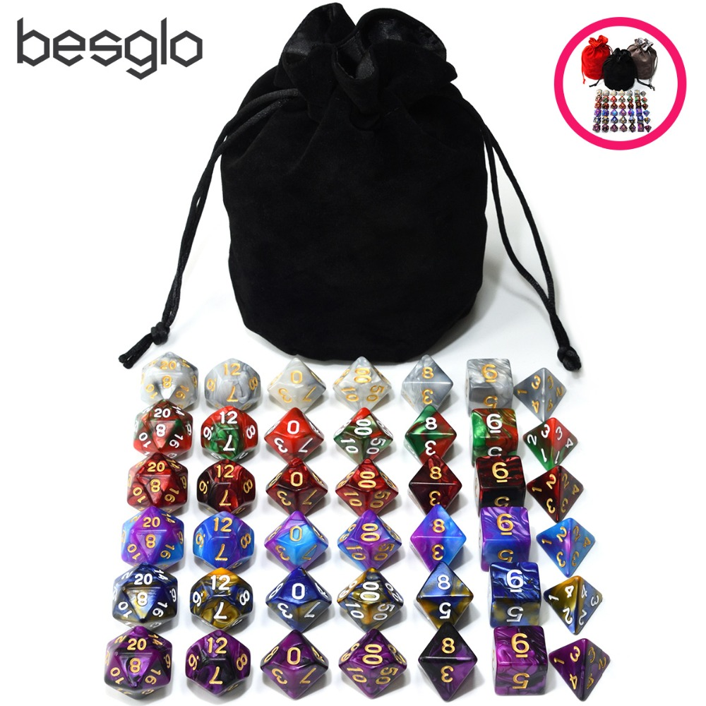 6 Sets Acrylic Polyhedral Dice Plus 1pcs Big Drawstring Bag For Dungeons And Dragons RPG Table Games D4 D6 D8 D10 D% D12 D20