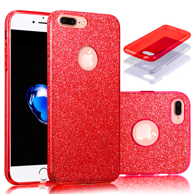For iPhone 7 7 Plus Case Luxury Sparkle Glitter Bling 3 Layer Hard Phone  Case Covers 2ccc843fcb75