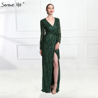Luxury Dark Green Long Sleeve Evening Dresses 2018 Sexy Deep V neck Side Split Beaded Sequins Gray Dubai Arabic BLA6004