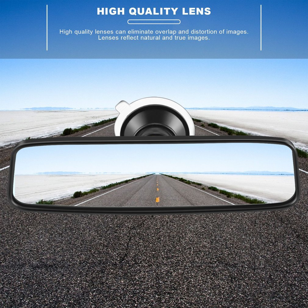 Espejo retrovisor interior de coche,universal gran angular panor/ámico espejo retrovisor con ventosa para coche SUV y cami/ón,115x50mm