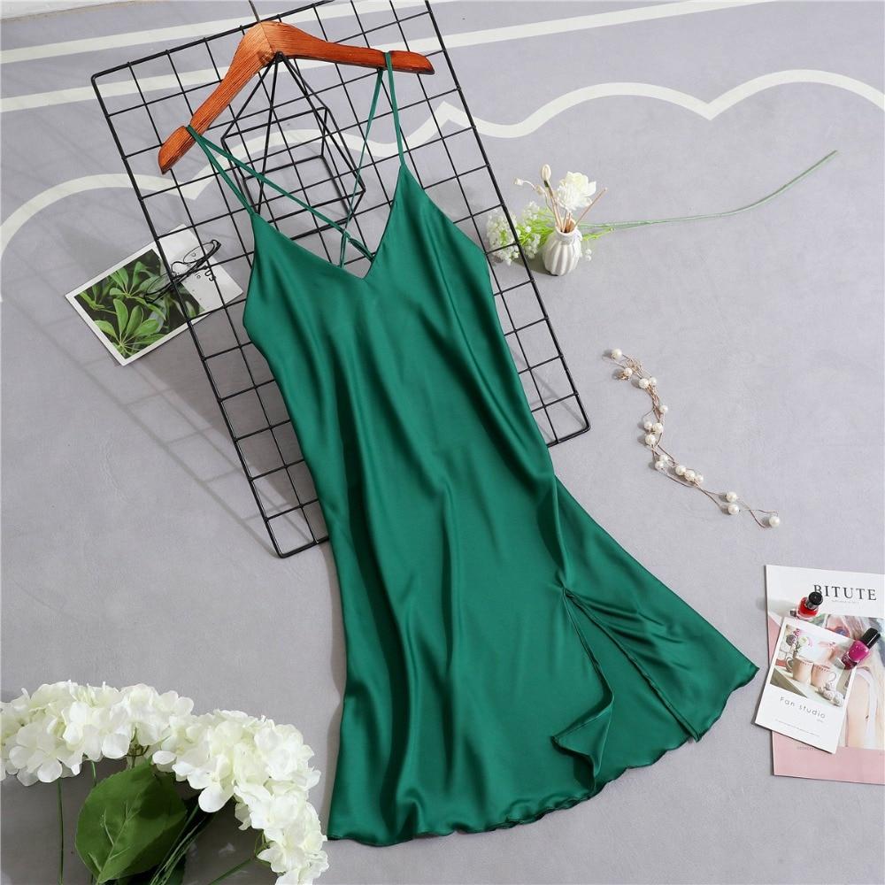 Women   Nightgowns   &   Sleepshirts   Sexy Silk Sleep Lounge Satin Sleepwear Summer Night Dress Women's Gown Backless Indoor Clothing
