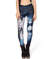 Hot Autumn Custom Lddies Fitness CORPSE BRIDE LEGGINGS Digital Printed Milk Vintage Plus Size Pants For