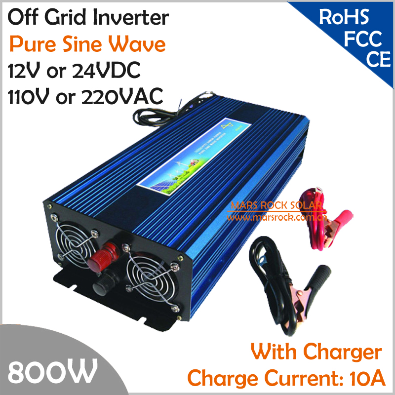 800W Off Grid Inverter with Charger, Surge Power 1600W DC12V/24V AC110V/220V Pure Sine Wave  Power Inverter with charge function  5000w dc12v 24v ac110v 220v off grid pure sine wave single phase power inverter with charger and lcd screen