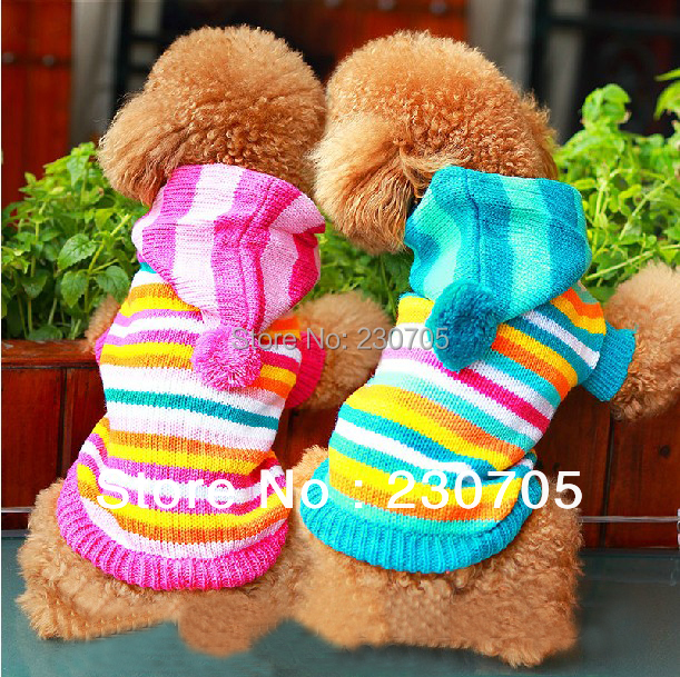 Free Shipping NEW Puppy Pet Dog Clothing, Dog Winter & Autumn Striped Sweaters Knitted Pet Dog Coat Apparel Clothes XXS,XS,S,M,L