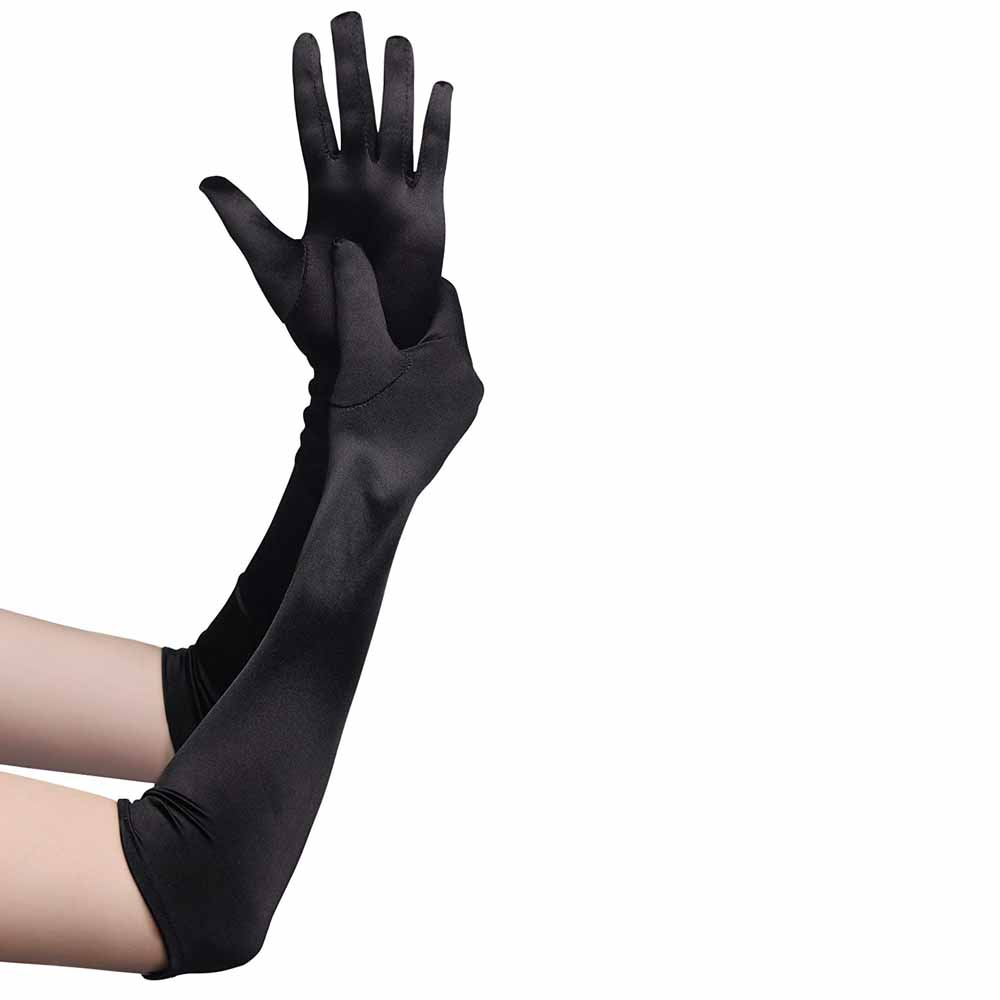 3Pair Long Opera Satin Gloves Finger Elbow Length Sun Protection Gloves Adult Size Evening Party Prom Costume Accessories Gift