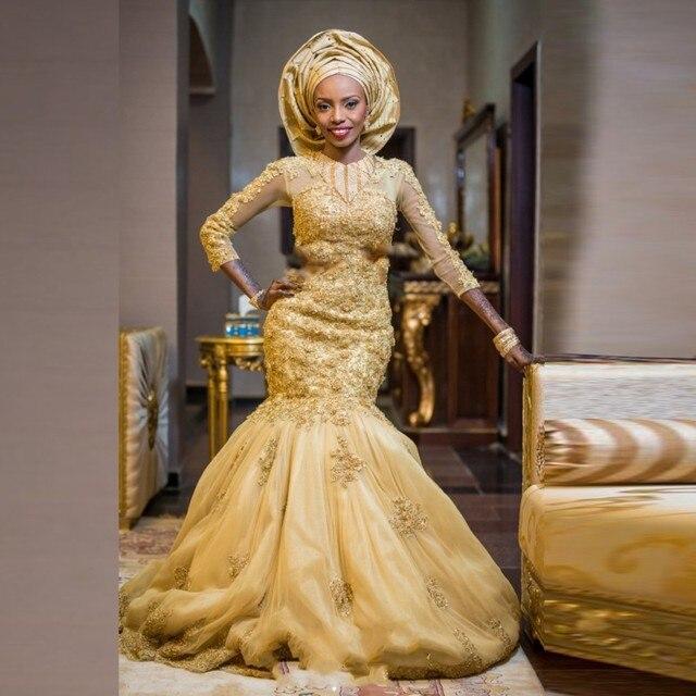 Gorgeous African Gold Wedding Dresses Long Sleeves Mermaid Luxury ...