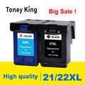 Toney rey 21 22 XL reemplazo de cartucho de tinta para HP 21 22 para HP21 21XL 22XL Deskjet serie F2180 F2280 F4180 F380 impresora 380