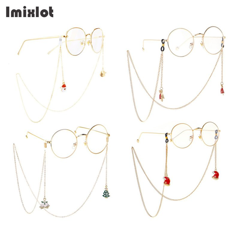 Christmas Design 75CM Santa Claus Eyeglass Sunglasses Reading Glasses Chain Metal Eyewears Cord Holder Neck Strap Rope
