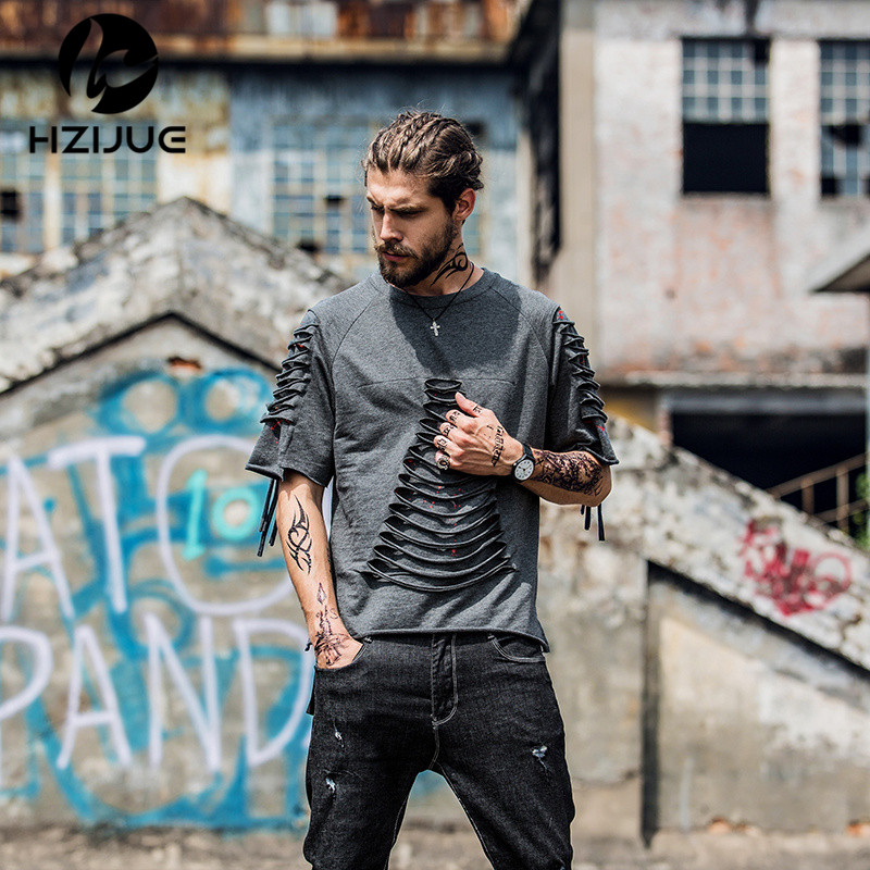 HZIJUE 2018 Brand new clothes mens tshirt fashion hole scrats
