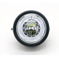 NEW Motorcycle Retro Black Metal Grid 35W LED Front Headlight Lamp Fits For CG125 GN125 Harley Cafe Racer Honda