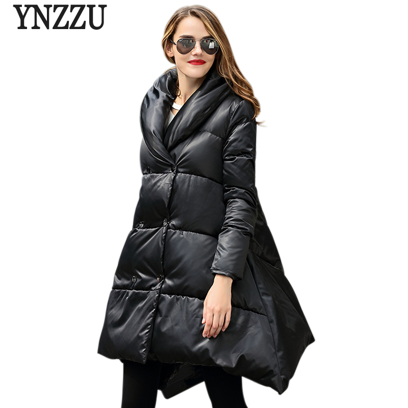2017 New Winter Women Down Jackets Brand Fashion A Line 90% White Duck Down Coats Long Thickening Warm Female Outwears AO241