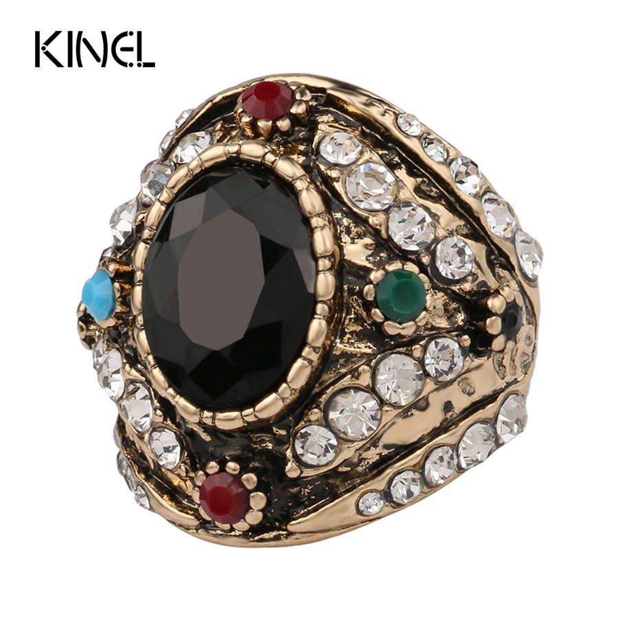 Hot 2016 From India Bohemia Big Ring Color Ancient Gold Vintage Jewelry Mosaic Black Resin White