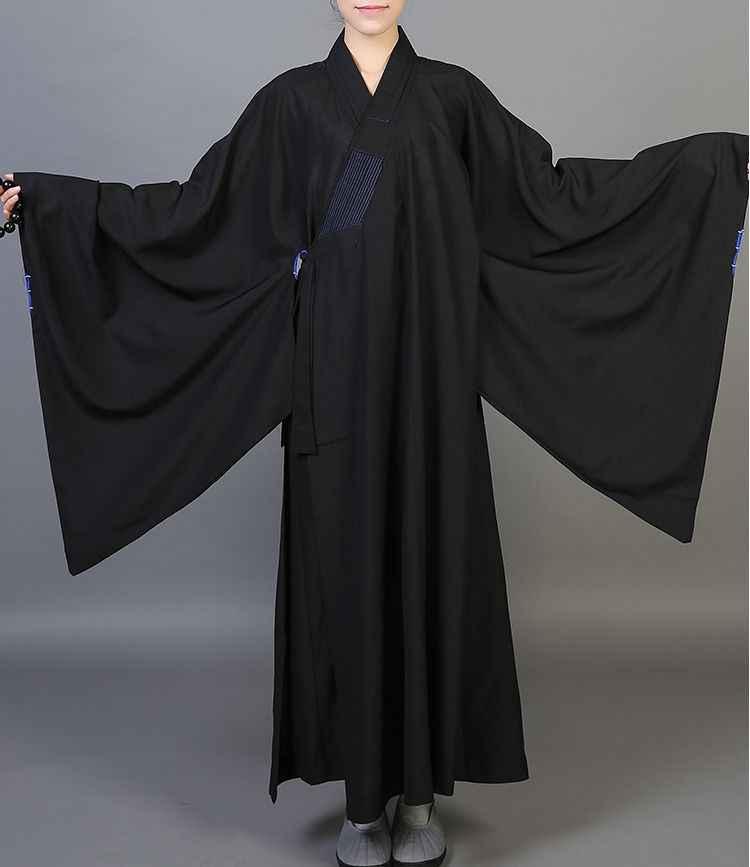 ユニセックス仏教少林寺僧のローブ海清禅制服レイ瞑想ガウン服コプソーン黒/グレー